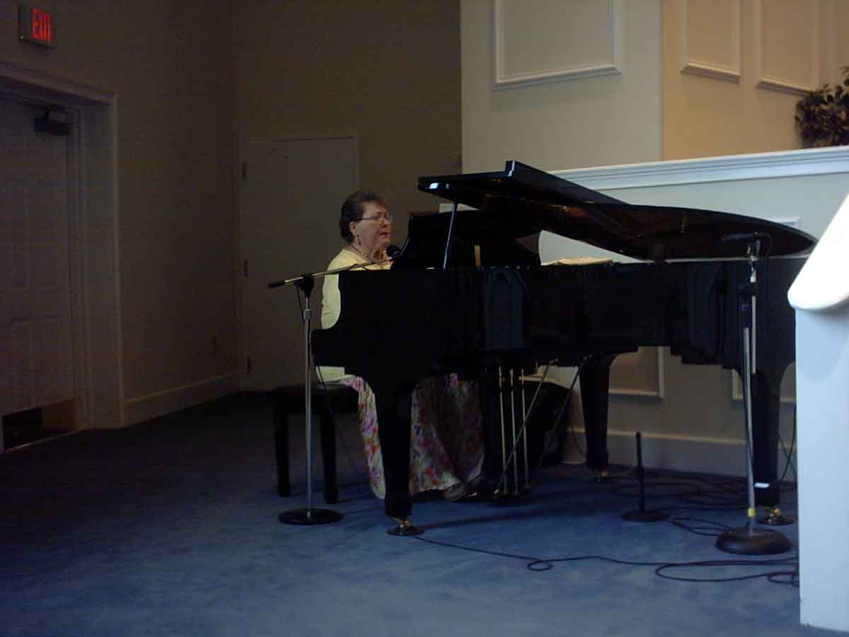 This is Mrs. Prickett, our piano player.